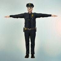 fbx police officer male rigged