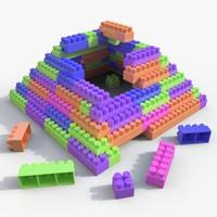 plastic blocks toy 3d model
