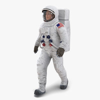 Astronaut NASA Wearing Spacesuit A7L Rigged 2