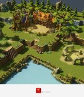 Low Poly Fantasy Environment Level Set