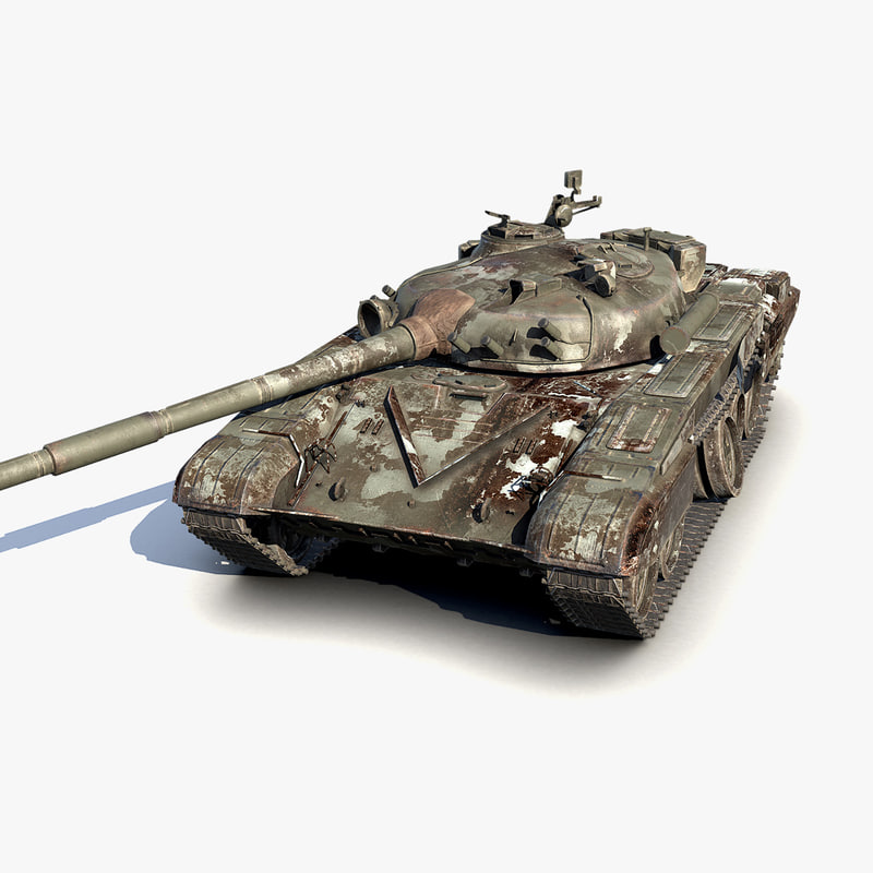 low-poly wrecked battle tank 3d max