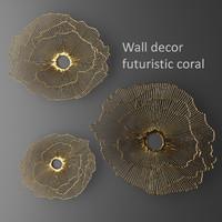 Wall decor futuristic coral. Panel.