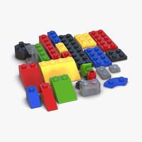 lego bricks set design 3d model