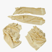 3d model of fallen towels
