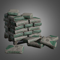 Cement Bag Stack - PBR Game Ready