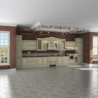 Kitchen classic in loft interior scene, Aran, Provenzale