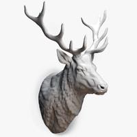deer stag head sculpture 3d model