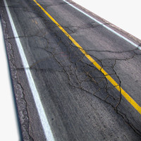 cracked asphalt road 3d obj