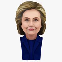 3d hillary clinton portrait color model