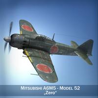 cinema4d mitsubishi a6m5 a6m fighter aircraft
