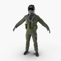 military jet fighter pilot 3d c4d