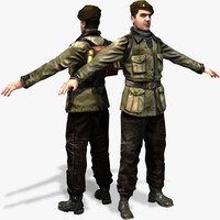 WWII Partisan 3D Character