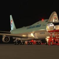 B 747-400F Korean Air Cargo Loading Operation Scene