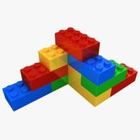 3d model realistic lego bricks shape