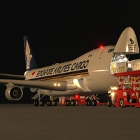 B 747-400F Singapore Airlines Cargo Loading Operation Scene