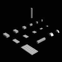 low-poly lego bricks 3d model