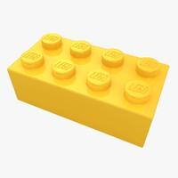3d model realistic lego brick 2x4