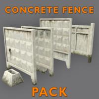 3d model low-poly concrete fences