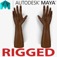 african man hands rigged 3d model
