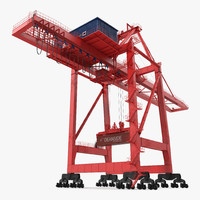 3d model port container crane red