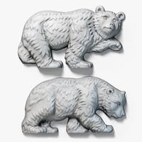 walking bears relief sculpture 3d model