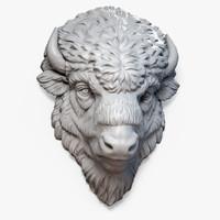 3d model american bison buffalo head