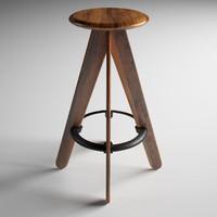 3d slab bar stool natural model