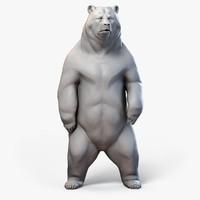 3d model standing bear sculpture