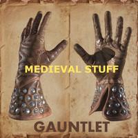 3d leather medieval gauntlet model