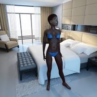 3d max rigged black female figure