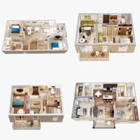 Four 3D Floor Plan Scenes