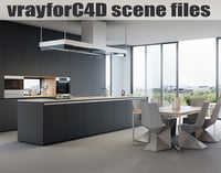 VRayforC4D Scene files - Modern Minimalist Kitchen Scene
