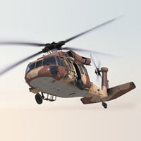 Sikorsky UH-60 Black Hawk Military Israel Utility Helicopter Rigged 3D Model