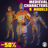 3d medieval characters real-time archer