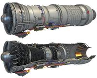 Afterburning Turbofan Interior with Cutaway