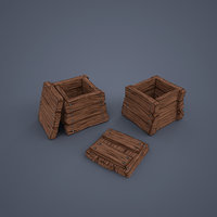 Wooden boxes (low poly)