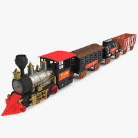 Toy Train with Wagons 3D Model